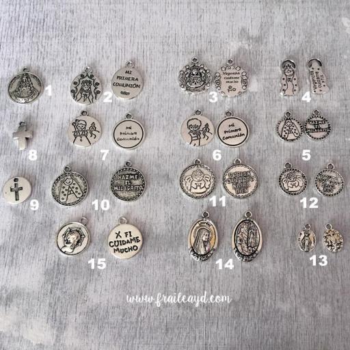 Pack 10 pulseras de oración con medalla en bolsa de lino/saco [1]