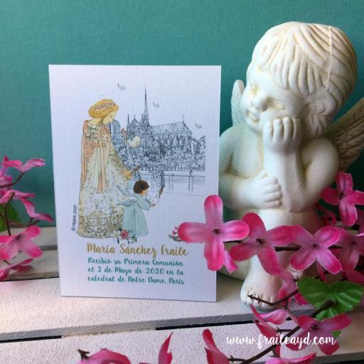 Recordatorio comunión Notre Dame catedral 9x13 cm  [2]