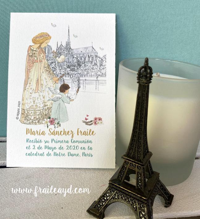 Recordatorio comunión Notre Dame catedral 9x13 cm