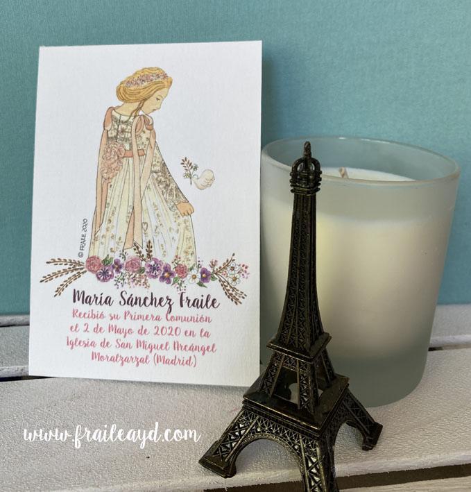Recordatorio comunión Notre Dame flores 9x13 cm
