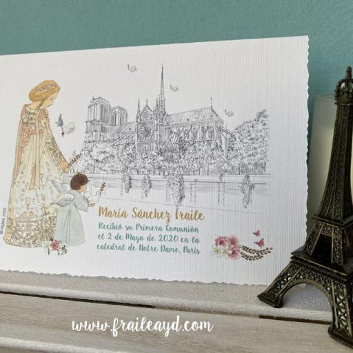 Notre Dame catedral  tarjetón doble 17x 12 cm