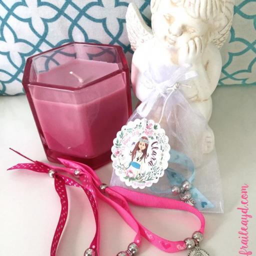 Pack 10 pulseras de cinta con medalla en bolsa de gasa con etiqueta personalizada