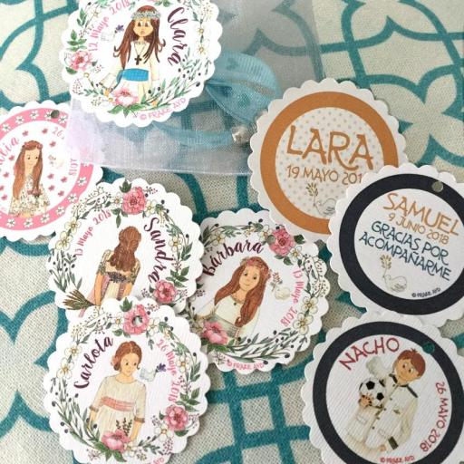 Pack 10 pulseras de cinta con medalla en bolsa de gasa con etiqueta personalizada [1]