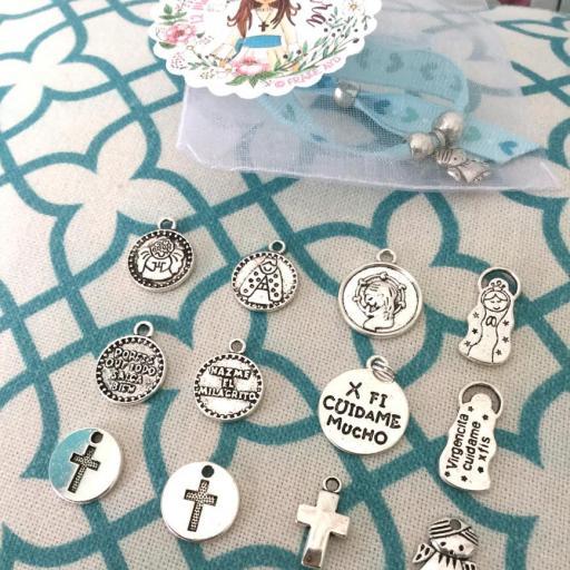 Pack 10 pulseras de cinta con medalla en bolsa de gasa con etiqueta personalizada [2]