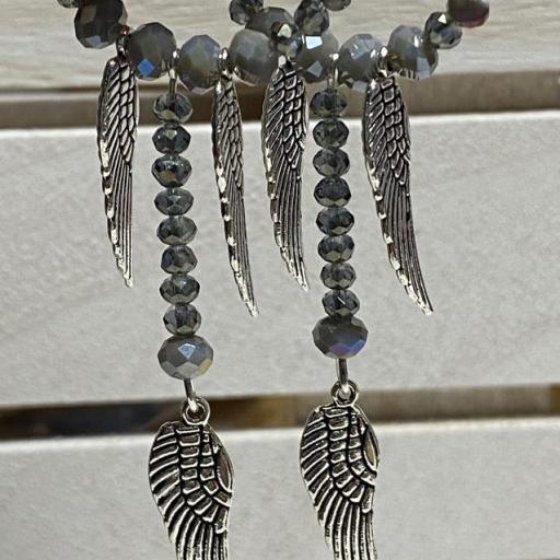 Pendientes largos Hippie cristal y tres alas [1]