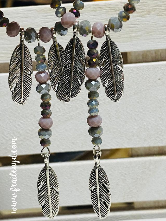 Pendientes largos Hippie cristal y tres plumas