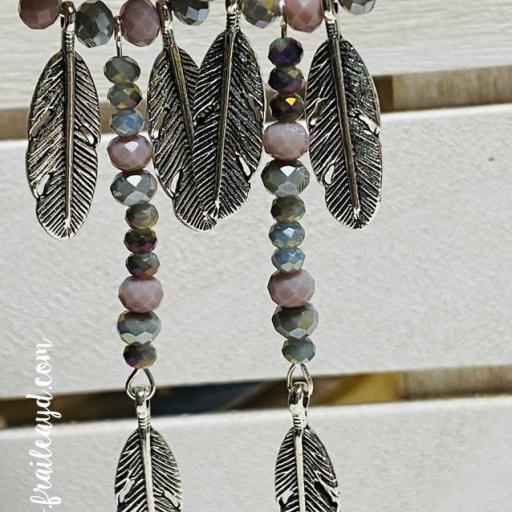 Pendientes largos Hippie cristal y tres plumas  [0]