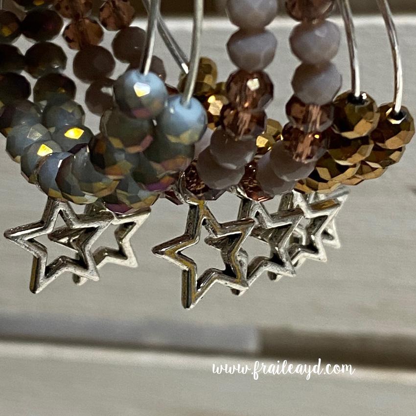 Pendientes Hippie cristal y estrella silueta
