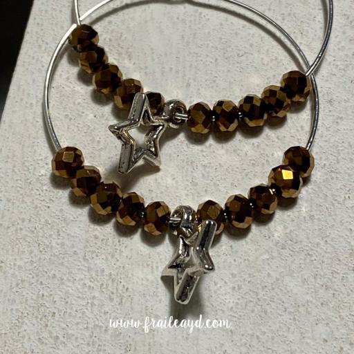 Pendientes Hippie cristal y estrella silueta [3]