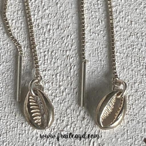 Pendientes de cadena de concha plata [1]