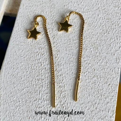 Pendientes de cadena de estrella oro