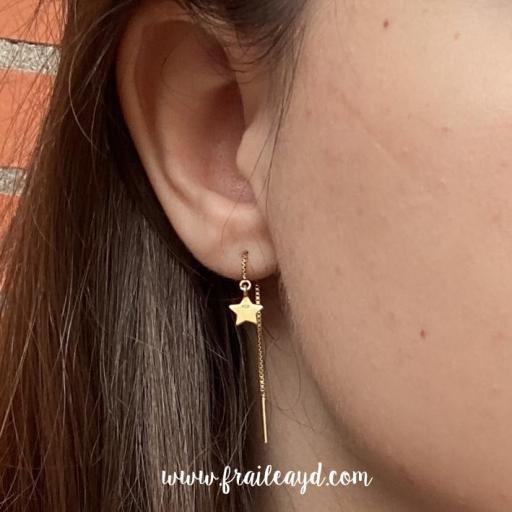 Pendientes de cadena de estrella oro [1]