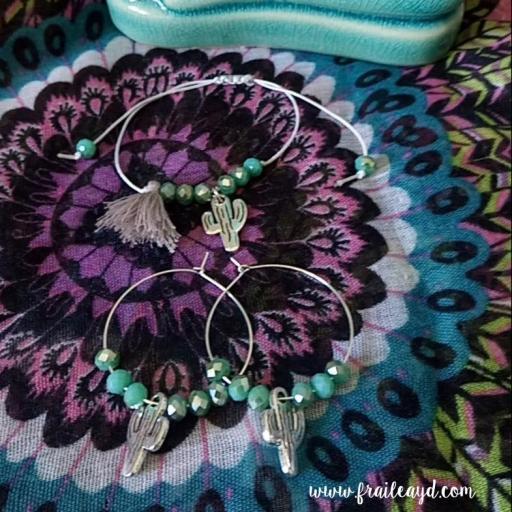 Pendientes Hippie cristal y cactus [2]