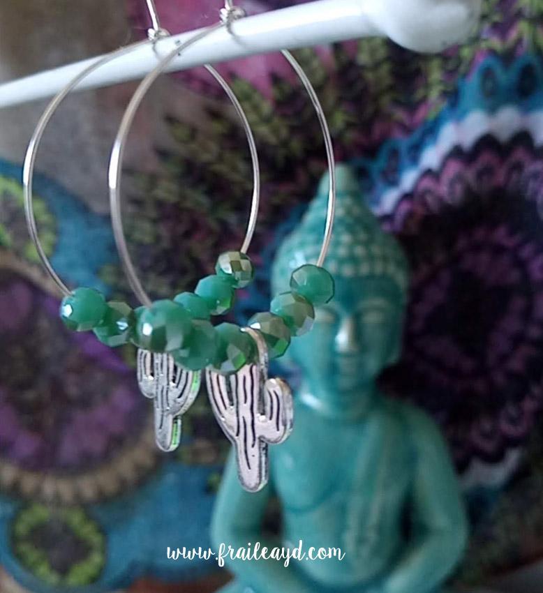 Pendientes Hippie cristal y cactus