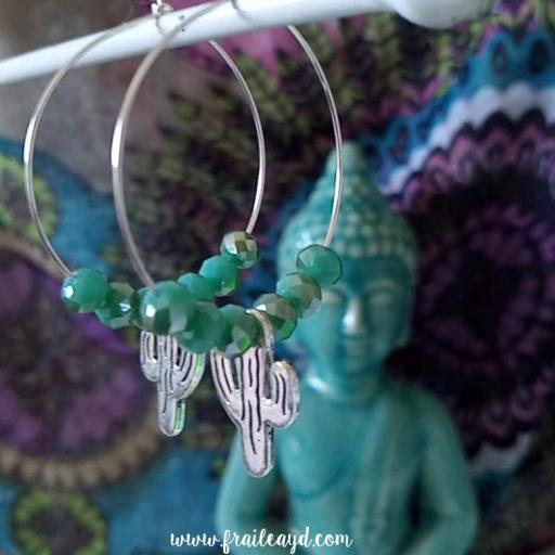 Pendientes Hippie cristal y cactus [0]