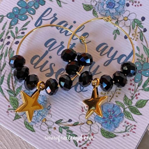 Pendientes Hippie cristal y estrella oro