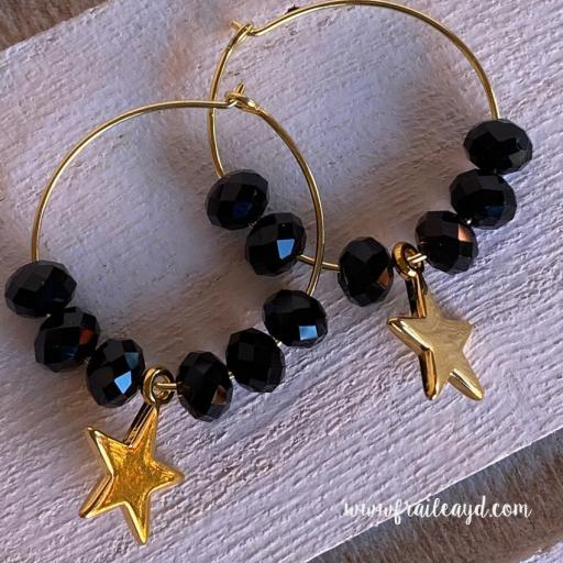 Pendientes Hippie cristal y estrella oro [1]