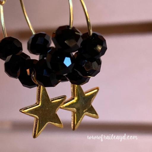 Pendientes Hippie cristal y estrella oro [2]