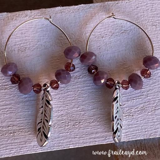 Pendientes Hippie cristal y pluma plata [2]