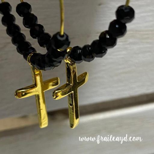 Pendientes Hippie cristal negro y cruz dorada [0]