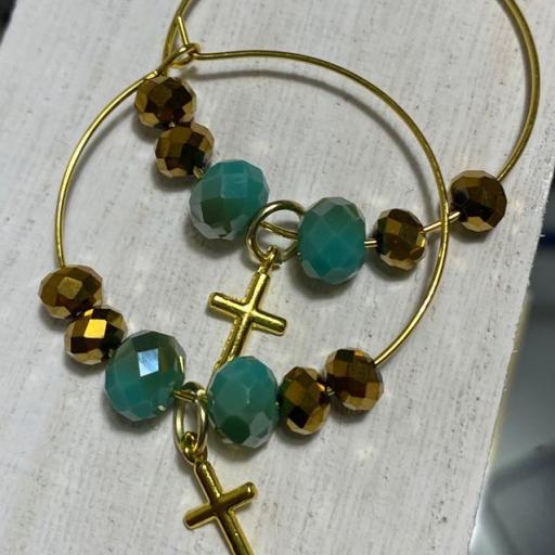 Pendientes Hippie cristal y cruz dorada mini [1]
