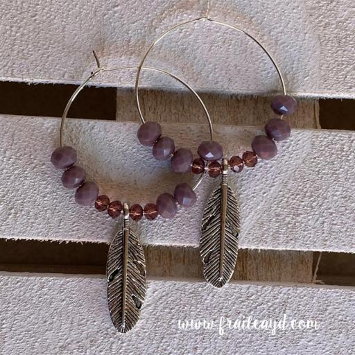 Pendientes Hippie cristal y pluma [1]