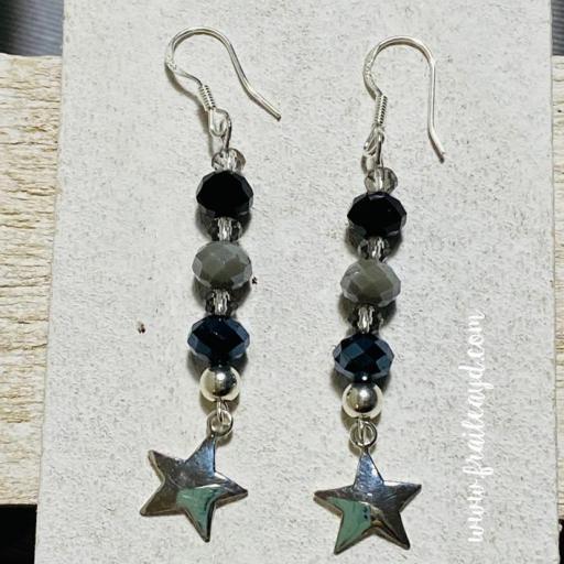 Pendientes estrella y cristal plata largos [3]