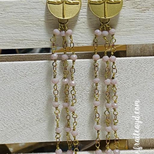 Pendientes largos Hippie Libélulas y cadenas de rosario rosa empolvado