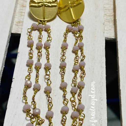 Pendientes largos Hippie Libélulas y cadenas de rosario rosa empolvado [1]