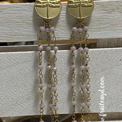 Pendientes largos Hippie Libélulas y cadenas de rosario rosa empolvado [2]