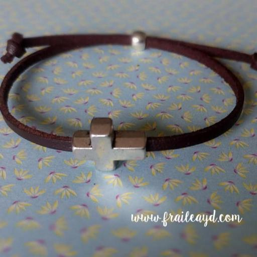 Pack 10 pulseras antelina cruz pasante en bolsa de gasa con etiqueta personalizada [1]