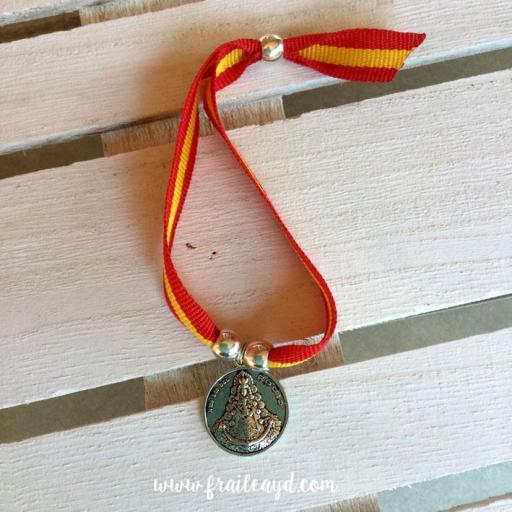 Pulsera España medalla Virgen del Rocío grande