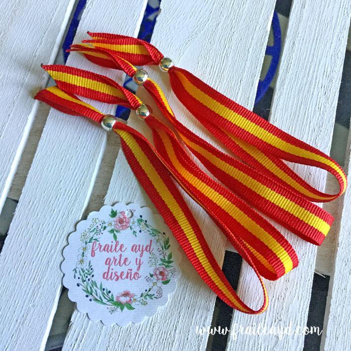 Pack 10 pulseras cinta bandera española