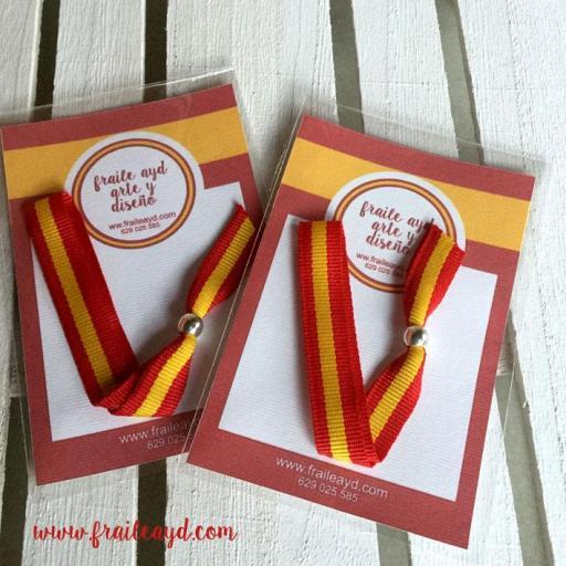 Pack 10 pulseras cinta bandera española [1]