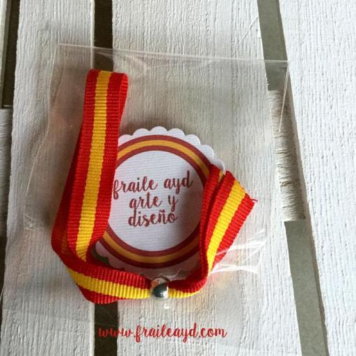 Pack 25 pulseras cinta bandera española
