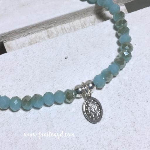 Pulsera de bolitas de cristal azul con medalla de la Virgen Milagrosa plata esmaltada mini [1]