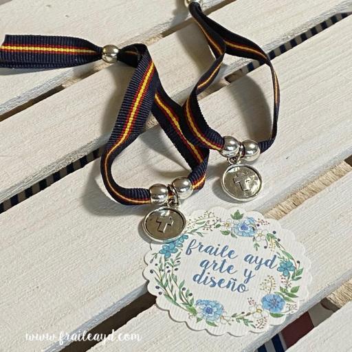 Pack 10 pulseras azul marino España medalla cruz relieve