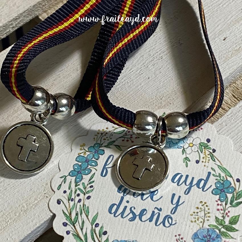 Pulsera azul marino España medalla cruz relieve