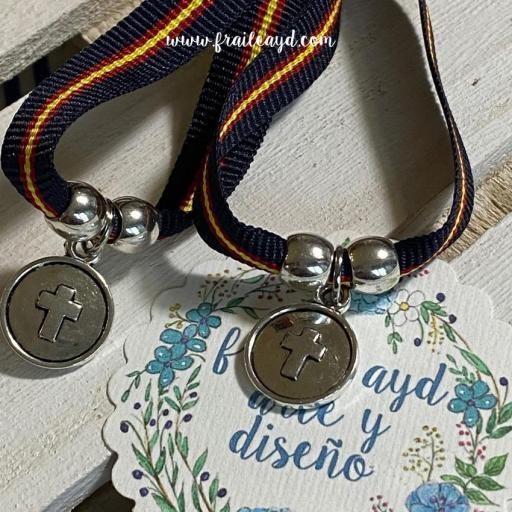 Pack 10 pulseras azul marino España medalla cruz relieve [1]