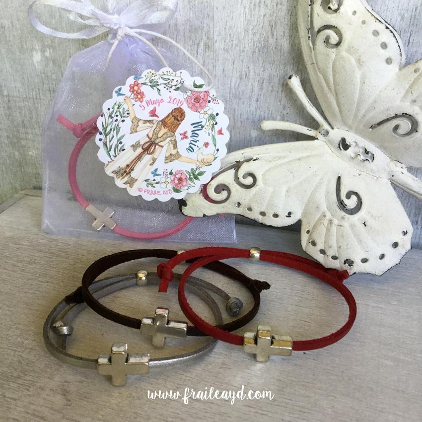 Pack 10 pulseras antelina cruz pasante en bolsa de gasa con etiqueta personalizada