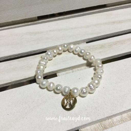 Pulseras de perlas con angelito calado plata chapado oro [1]