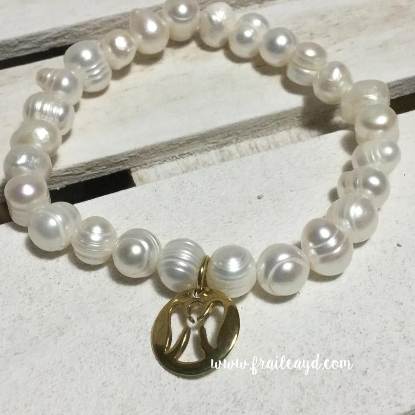 Pulseras de perlas con angelito calado plata chapado oro