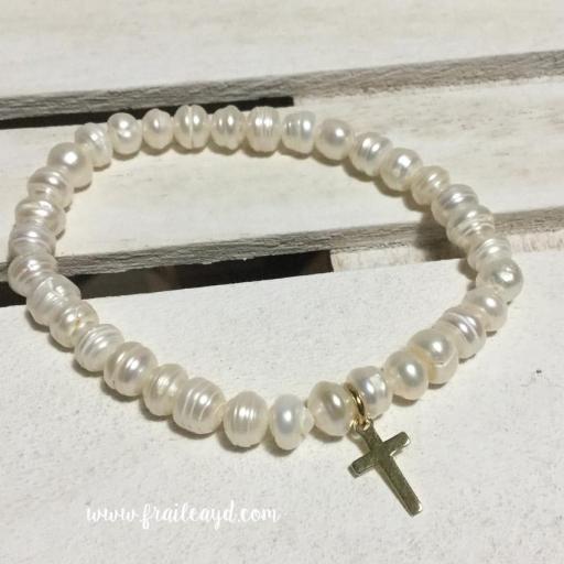 Pulseras de perlas con cruz plata chapado oro [2]