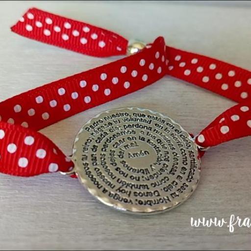 Pulsera de cinta topos con medalla redonda Padrenuestro [0]