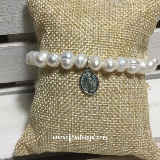 Pulsera perlas con medalla virgen milagrosa plata [1]