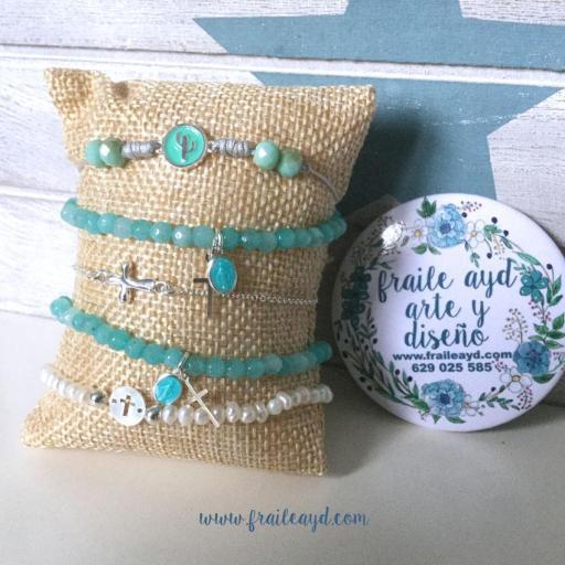 Pulsera de bolitas de ágata con cruz de plata y medalla de la Virgen Milagrosa plata esmaltada mini [3]