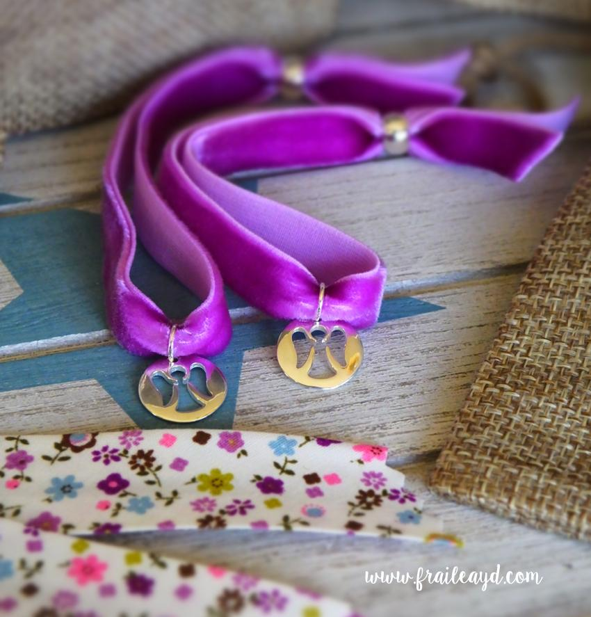 Pulsera terciopelo medalla angelito calado plata