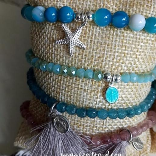 Pulsera de bolitas de cristal azul con medalla de la Virgen Milagrosa plata esmaltada mini [2]