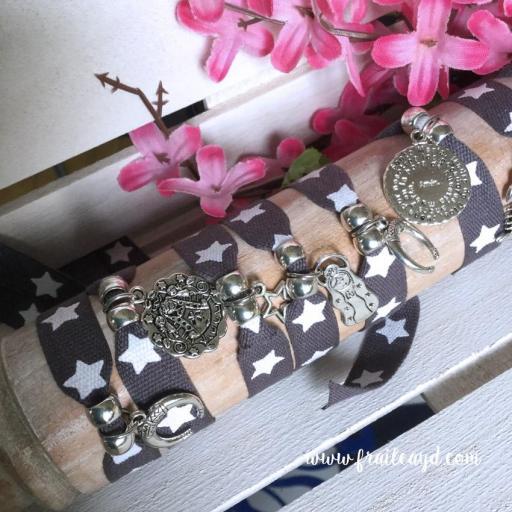 Pack 10 Pulseras de cinta gris de estrellas