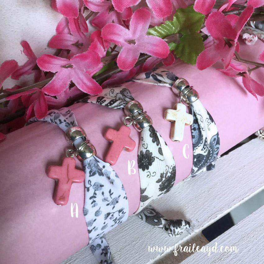 Pulsera cinta flores cruz